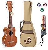 Hola! HM-121MG+ Deluxe Soprano Ukulele, Mahogany w/Binding and Aquila Strings