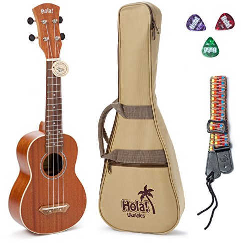 Best Synthetic Gut String (Hola! Music HM-121MG+ Deluxe Mahogany Soprano Ukulele Bundle with Aquila Strings, Padded Gig Bag, Strap and Picks - Natural)