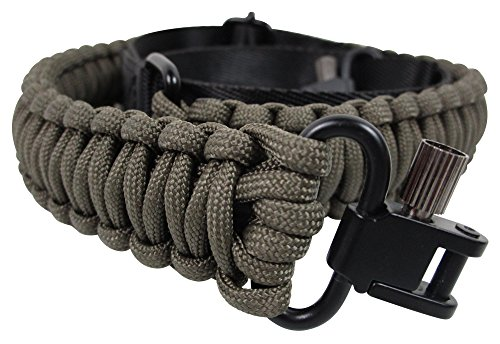 Gun Sling Paracord 550 Adjustable Length 2 Point Strap With Swivels On Both Ends For Rifle Shotgun And Crossbow Hunting Tactical Survival (Olive Green)