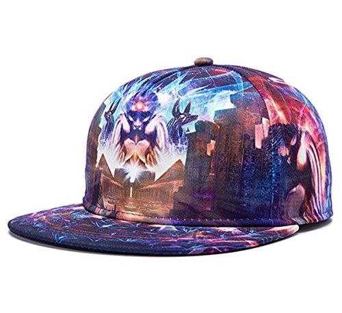 So'each 3d Galaxy Animal Starry Print Flatbill Visor Snapback Baseball Hat Neon Sign H22 (Animal Visor Hat)