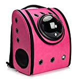 Vedem Pet Carrier Bag Cat Dog Traveler Bubble Backpack (Magenta)