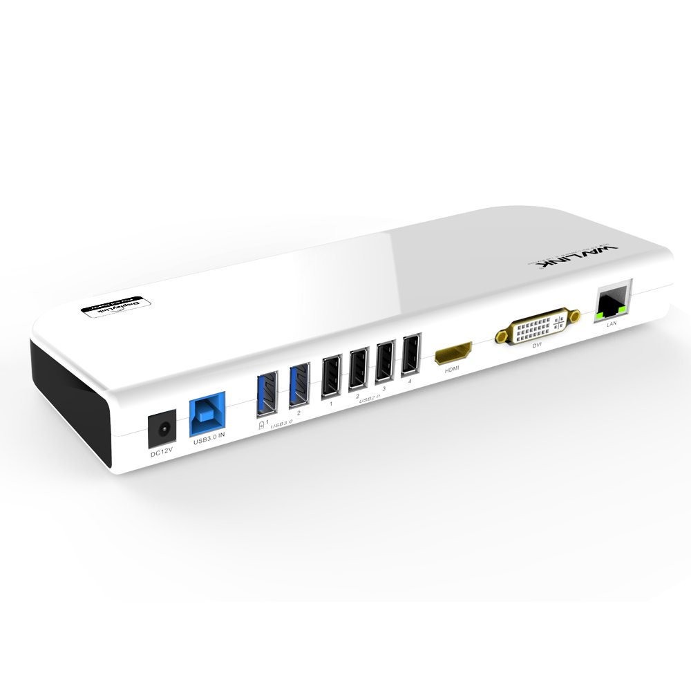 Wavlink USB 3.0 Universal Laptop Docking Station Dual Video Display HDMI &DVI/VGA, Gigabit Ethernet, Audio, 6 USB Ports for Windows, Chromebooks