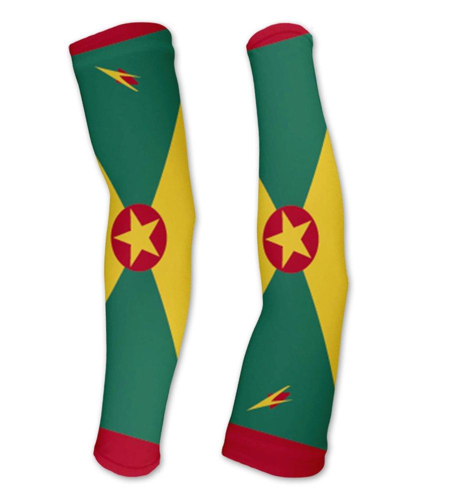 Grenada Flag Compression Arm Sleeves UV Protection Unisex - Walking - Cycling - Running - Golf - Baseball - Basketball - Size XS