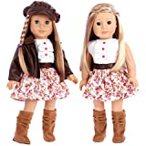 DreamWorld Collections - Urban Explorer - 18 inch doll clothes - Brown Motorcycle Jacket with Paperboy Hat, Dress and Boots - (doll not included)