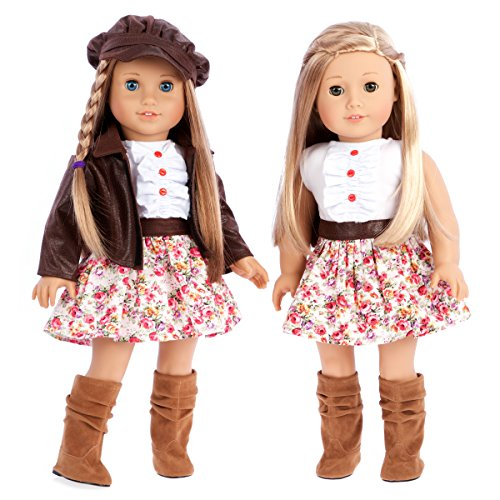 Urban Explorer - 18 inch doll clothes - Brown Motorcycle Jacket with Paperboy Hat, Dress and Boots - (doll not included) (Paper Doll Clothes)