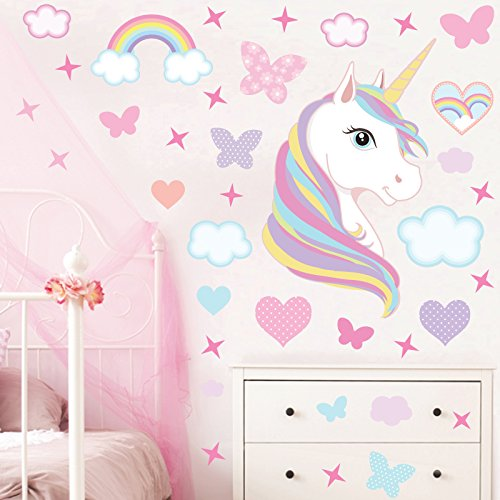 GET STICKING DÉCOR MAGICAL UNICORN/HORSE WALL STICKERS COLLECTION, Rainbow Unic.4, Matt Vinyl, Multi Color. (Large)