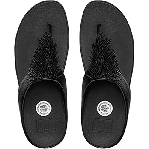 FitFlop Women's Cha Cha Flip Flop, Black, 9 M US by FitFlop