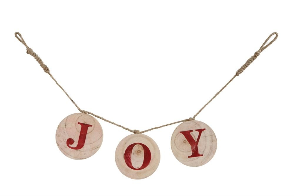 Heart of America Wood Slice Garland With Burlap String Joy - 4 Pieces