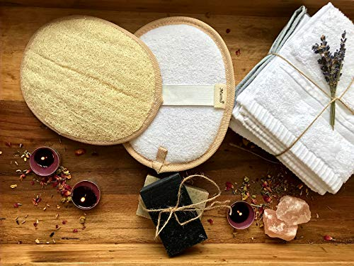 Mumo Natural Organic Loofah | Padded with Egyptian Cotton for Premium Quality | Eco-friendly natural exfoliator for smooth, youthful, vibrant and glowing skin | 8 inches Long Each