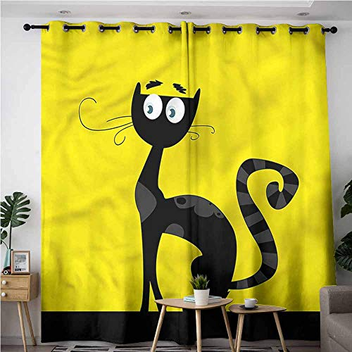 BE.SUN Simple Curtains,Cat,Cartoon Style Drawing Halloween,Insulated with Grommet Curtains for Bedroom,W120x72L