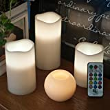 3 Piece Flickering Flameless LED Wax Pillar Candles Set with Remote Control and BONUS LED Ball Candle by Frux Home and Yard