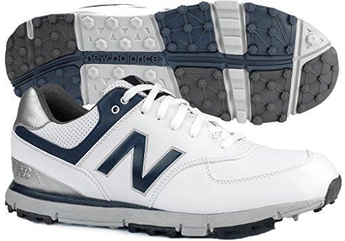 New Balance Men's 574 SL Waterproof Spikeless Comfort Golf Shoe, White/Navy, 14 W ()