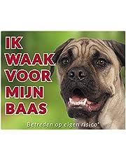 Ik waak voor mijn baas 17 Bull Mastiff 250x200mm - polystyreen waakbord met een gekleurde achtergrond