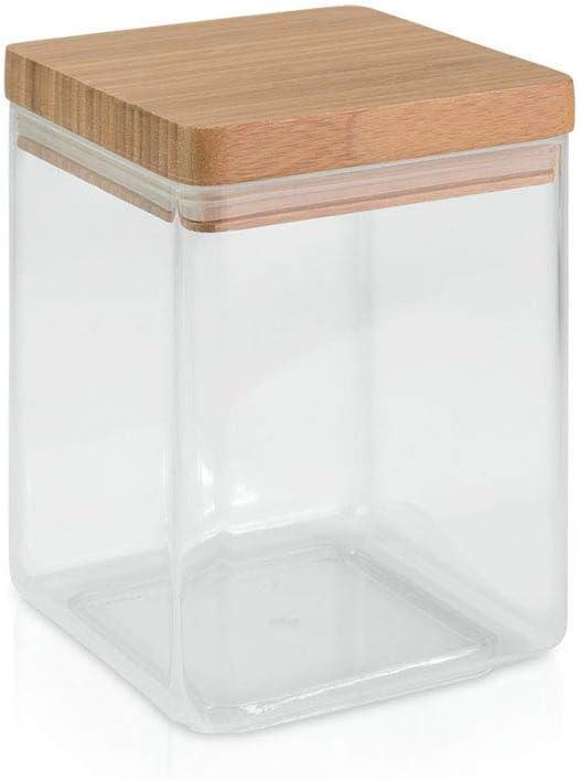 Metaltex 187114 - Bote cocina acrílico cuadrado, tapa bambú, 1.30 litros