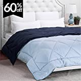 Alternative Comforter - King Comforter Reversible Duvet Insert with Corner Ties-Quilted Down Alternative Comforter Diamond Stitching Design Navy/Light Blue 102