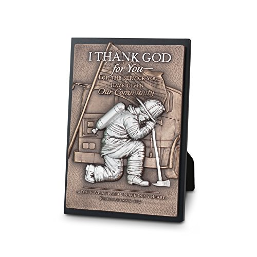 (Lighthouse Christian Products Moments of Faith Fireman Small Sculpture Plaque, 4 1/2 x 6 1/2