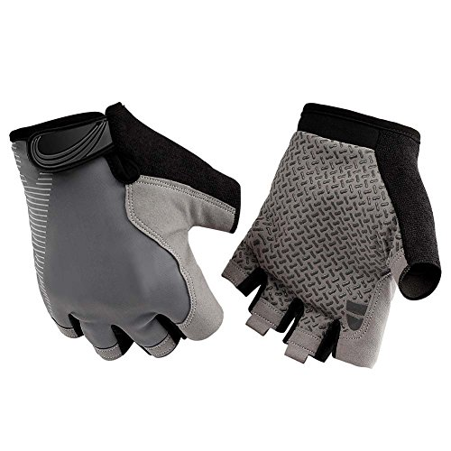HENDGO Cycling Gloves Lce Silk High Elastic Breathable Silicone Non-Slip, Sunscreen, Breathable, Anti-Static.Outdoor Sports Gloves, Full Finger And Half Finger. (Half Finger-Gray, ()