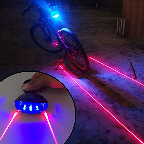 Ultra Bright Bicycle Tail Light Laser Light Waterproof Safety Warning Rear Light Red LED Back Light Flashlight Lamp for Mountain Bike 2 Laser 5 LED 7 Modes