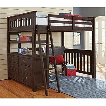 Amazon Com Ne Kids Highlands Full Loft Bed With Desk In