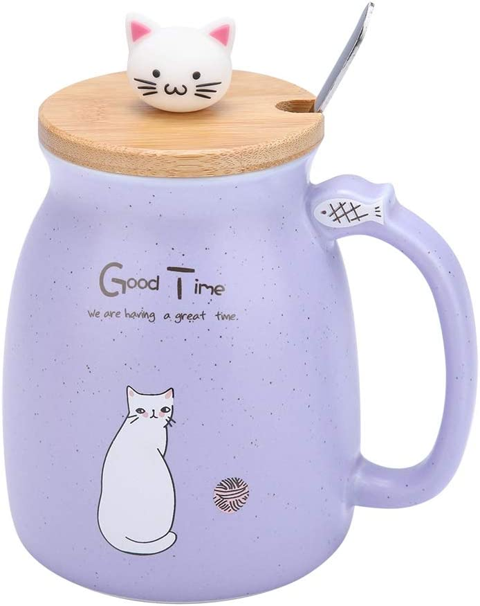 Ceramic Cup Cute Cat Pattern Coffee Cup with Spoon and Wood Lid Tea Water Milk Mug for Home Office (380 ML Purple)