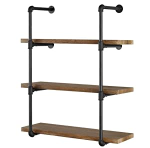 "Yuanshikj 2Pc (42"" Tall) (12""deep) Industrial Wall Mount Iron Pipe Shelf Shelves Shelving Bracket Vintage Retro Black DIY Open Bookshelf DIY Storage offcie Room Kitchen (2 Pcs 4Tier Hardware Only)"