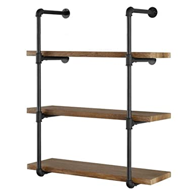 Yuanshikj 2Pc (42  Tall) (12 deep) Industrial Wall Mount Iron Pipe Shelf Shelves Shelving Bracket Vintage Retro Black DIY Open Bookshelf DIY Storage offcie Room Kitchen (2 Pcs 4Tier Hardware Only)