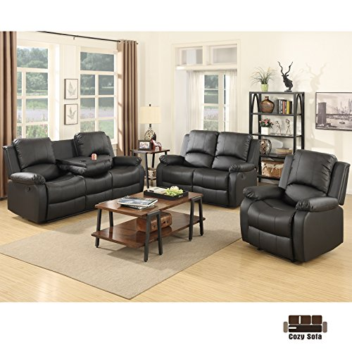 SUNCOO 3-Piece Bonded Leather Recliner Sofa Set with Cup Holder Loveseat Chair Living Room Furniture Set ()