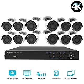 LaView 16 channel 4K home security system with 12 8MP 4K Bullet Cameras, 4TB Storage - Outdoor weatherprood IP Poe Surveillance cameras, 100ft Night Vision - LV-KNG9661612G8-T4 (B076JXXKLV) | Amazon price tracker / tracking, Amazon price history charts, Amazon price watches, Amazon price drop alerts