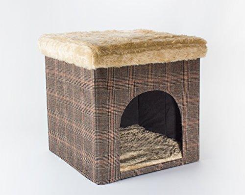Hundehöhle / Katzenhöhle und Hocker, Tweed-Optik, 50x50x50 cm, indoor