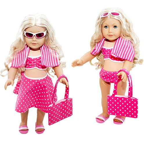 Lilly and the Bee Novelties 6 Piece Swimsuit Set for 18 Inch Dolls Pretty Pink Polka Dot Swimsuit Set (Inch For Bathing 18 Suits Dolls)