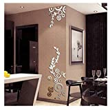 Wall Sticker Home Decor, 3D Creative Circle Ring Acrylic Mirror Wall Stickers Decals Mural Art Room Decoration (Silver, as Shown)