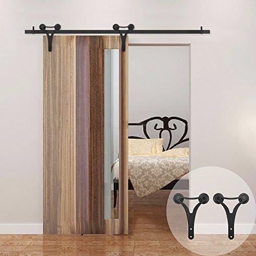WINSOON Double Wheels Sliding Closet Barn Door Hardware Kit Black with Big Y Shaped Hangers for Single Door (5FT Single Door Track Kit) (Omnia Door Door Stop)