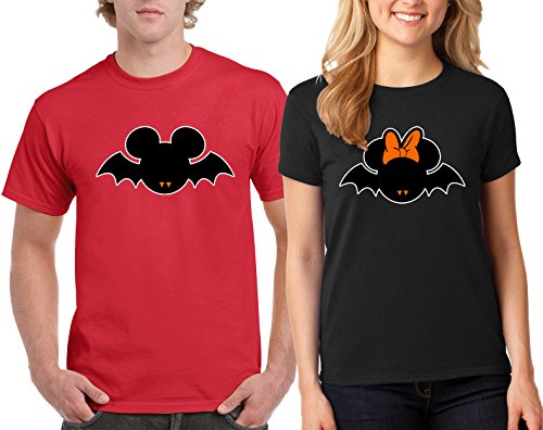 Disney Minnie & Mickey Bat Halloween Costumes Couple DesignT-Shirt Popular Tee Shirt 1(Red-Black,Men-L/Women-L) ()