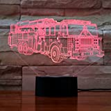 LED Night Light 3D Visual Desk Lamps with 7 Color Changing Lights Touch Button Fire Truck Shape Best Gift for Kids (Fire Truck)