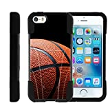 Apple iPhone SE Case | iPhone 5/5s Case [Gel Max Cover] Two Layer Soft Silicone Hard Shell Case with Kickstand Sports and Games Design Series by TurtleArmor - Basketball Seams