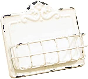 VIP Home & Garden MT2155 Vintage Style Antique Business Card Holder, White, Metal