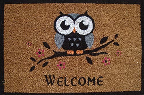 Cranberry Mats Designer Natural Coir Non Slip Doormat for Patio, Front Door, All Weather Exterior Doors - Animal Bird One Owl