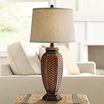 Coastal Table Lamp Woven Seagrass Burlap Drum Shade For