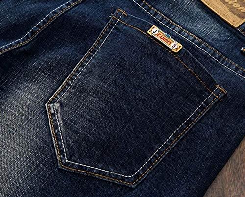 Slim Casuales De Hombres Pantalones Pantalones Corte Pants R Sin Vaqueros Pretina con Vintage Fit para Vaqueros Denim Nostálgicos Recto Azul Jeans Pantalones xI6qXEwSq