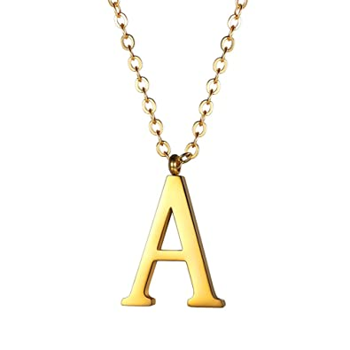 PROSTEEL Gold Plated 26 Alphabet Necklace with Chain(50+5CM), Free Black Gift Box,Velvet