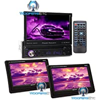 pkg (2) Soundstream VHR 65T 6.5 LCD Touchscreen Headrest Monitors + Power Acoustik PD-724HB In-Dash 1-DIN 7 Motorized Touchscreen LCD DVD 17 Million Color Illumination Stereo Receiver with Bluetooth