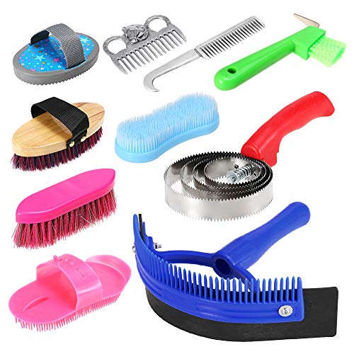 Explopur Horse Grooming Tool Set - 10-in-1 Mane Tail Comb Massage Curry Brush Sweat Scraper Hoof Pick Curry Comb Scrubber Cleaning Kit