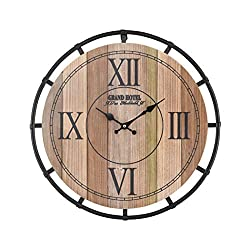 AR Lighting Torino Wall Clock in Natural Wood Tone Veneer and Black