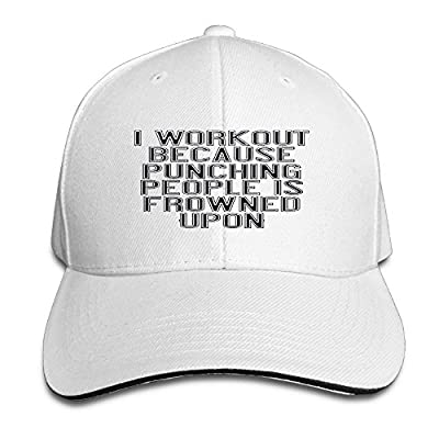I WORK OUT BECAUSE PUNCHING PEOPLE IS FROWNED UPON...pngCustom Breathable Trucker Mesh Hat, Moisture Wicking Adjustable Snapback Trucker Hat For Men & Women For Leisure And Sport ActivitiesWhite]