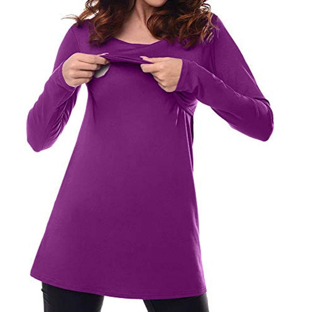 SuperSU Frauen Umstandskleidung Pflege Tops Langarm Kleidung für Schwangere Bluse Damen Umstands-Top Stillnachthemd Ärmellos T-Shirt Lagendesign Rundhalsausschnitt für Schwangere