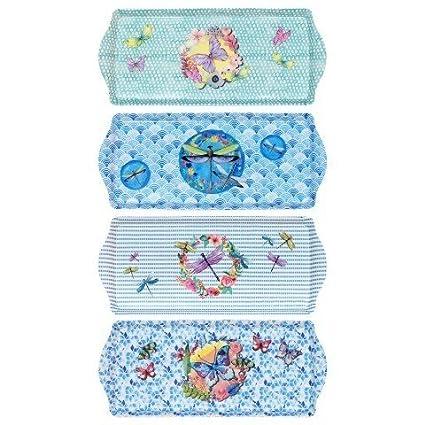 CAPRILO Set de 4 Bandejas Decorativas Alargadas Mariposas. Vajillas y Cuberterias. Centros de Mesa