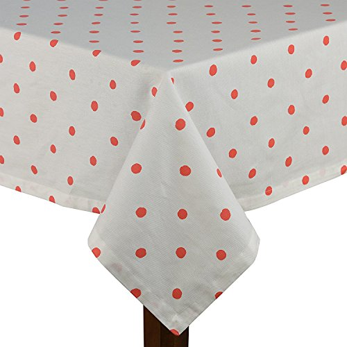 Kate Spade Charlotte Street Polka Dot Tablecloth Coral 60 x 120 100% Cotton (60 x -