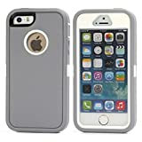 iPhone SE Case, Lookly [Armorbox Series] Heavy Duty Rugged Scratch Resistant Shockproof Full Body Protective with Built-in Screen Protector Case for Apple iPhone 5S/SE (Gray+White)