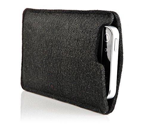 iProtect Apple iPhone 5 5s Hülle Filz Tasche in schwarz
