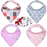 Baby Bandana Drool Bibs for Girls, 4 Pack Cute Baby Bibs With baby girl headband Modern Baby Gift Set by Pashoshi